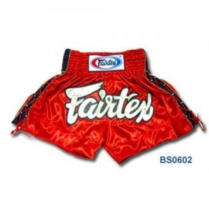 BS603 Fairtex Red Satin Shorts With Gold Mesh