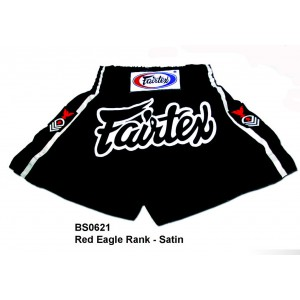 BS0621 Fairtex Red Eagle Rank Shorts, Satin
